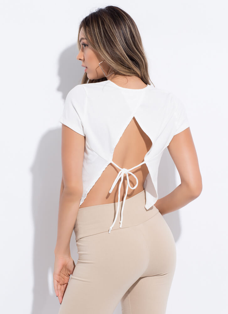 Feel The Breeze Tied Open-Back Top WHITE