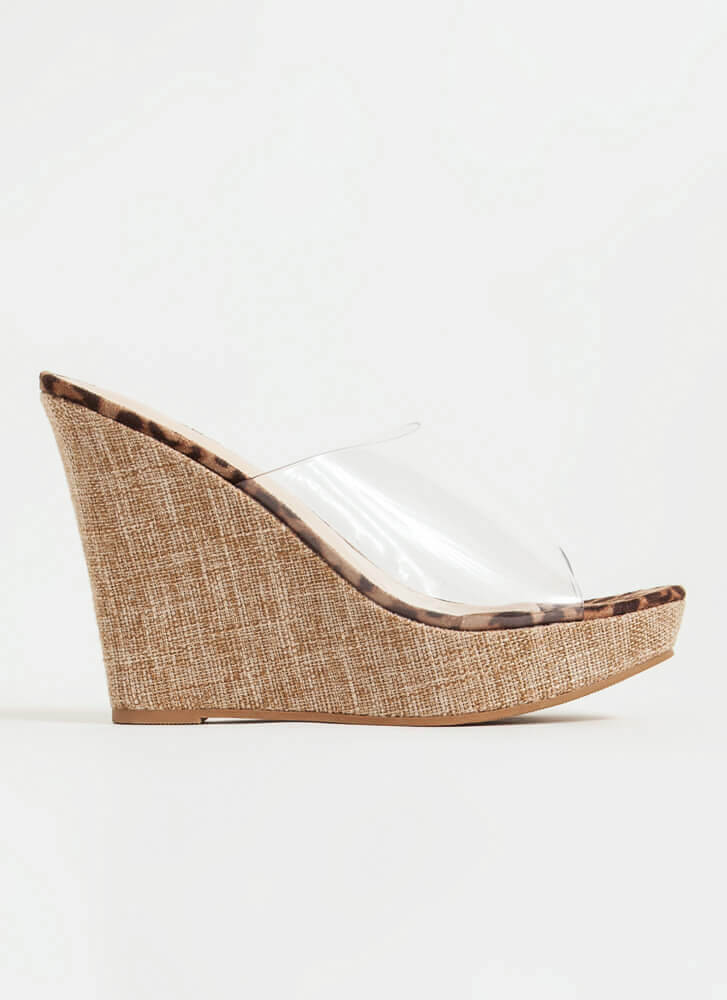 Higher Calling Clear Mule Wedges LEOPARD