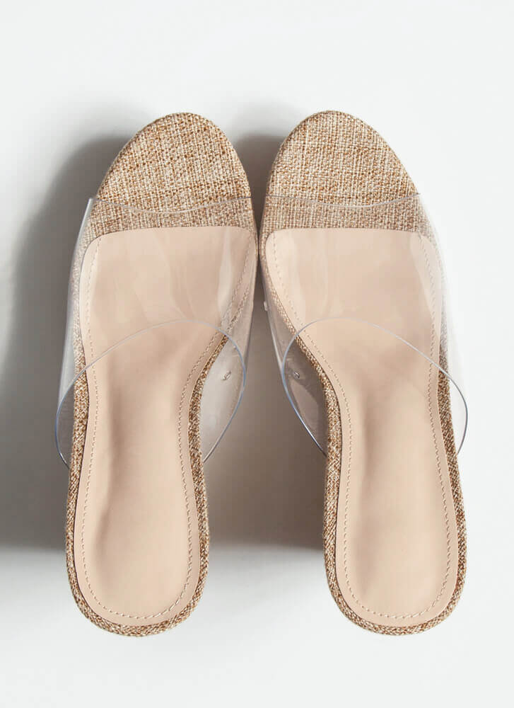 Higher Calling Clear Mule Wedges NATURAL