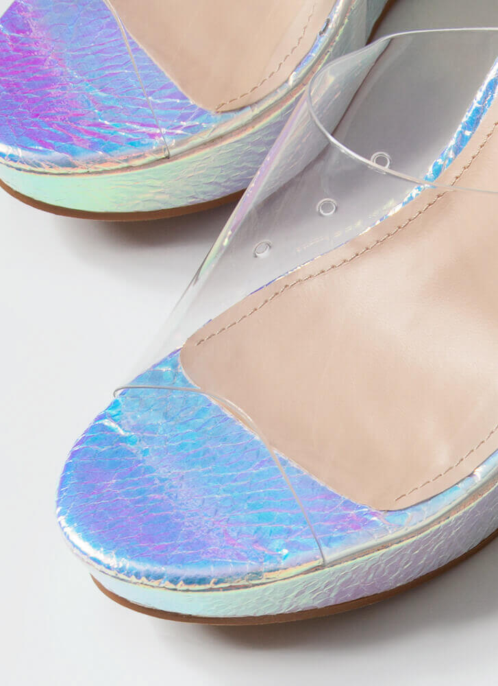 Higher Calling Clear Mule Wedges SILVER