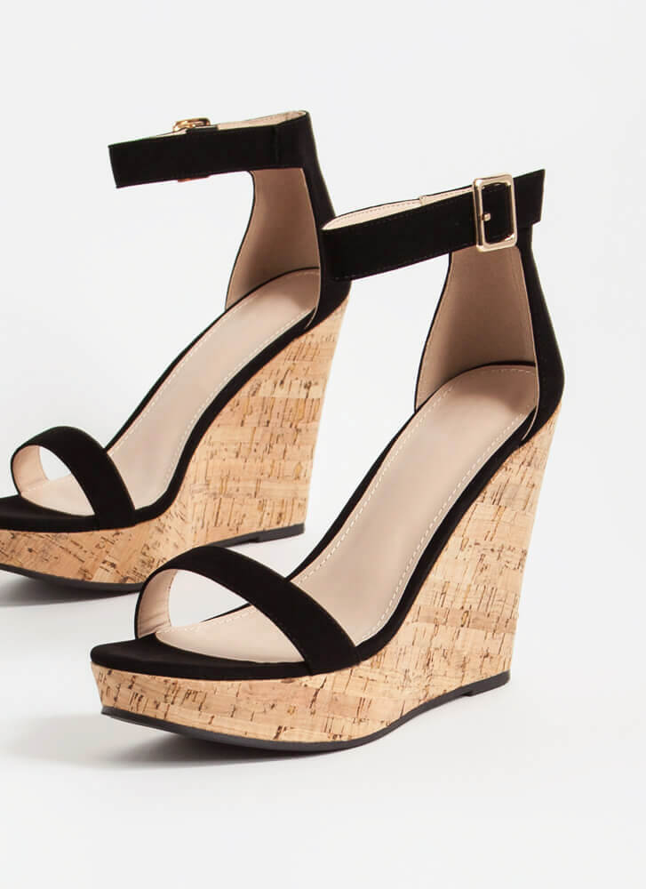 Perfect Vacation Ankle Strap Cork Wedges BLACK