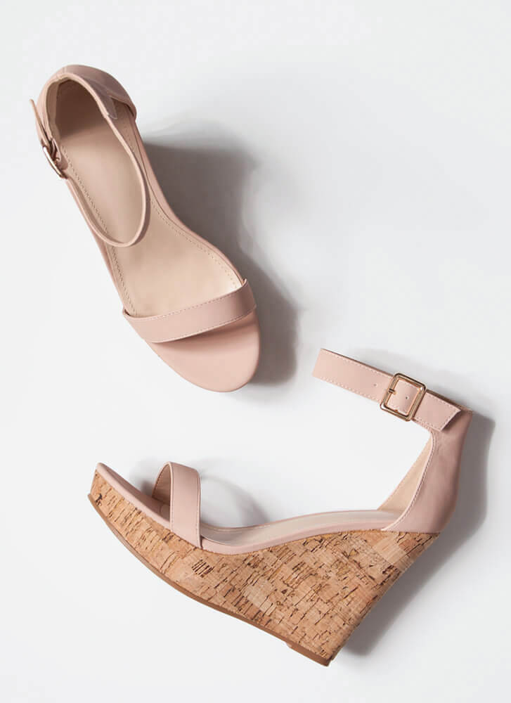 Perfect Vacation Ankle Strap Cork Wedges DUSTYPINK