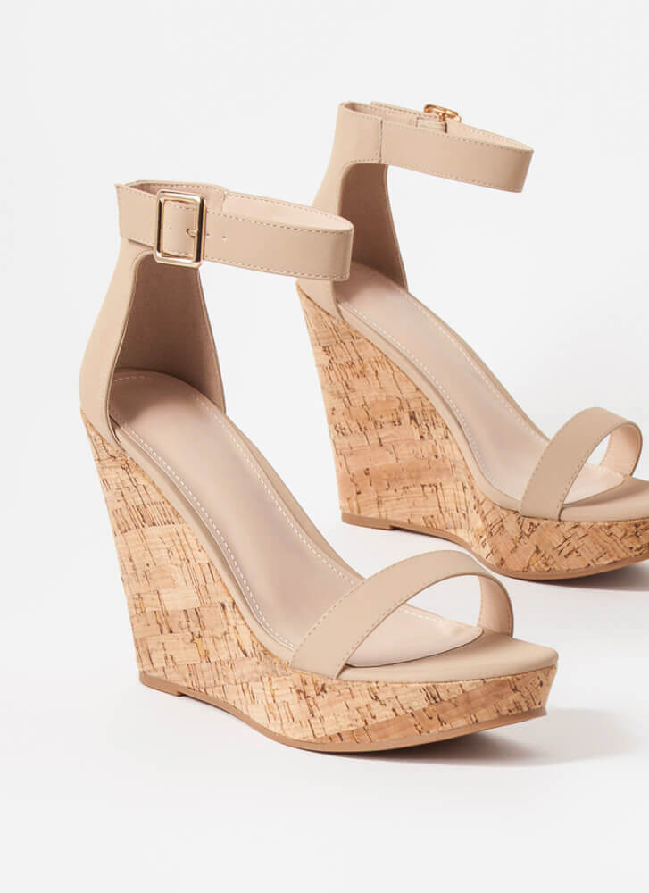 Perfect Vacation Ankle Strap Cork Wedges TAN
