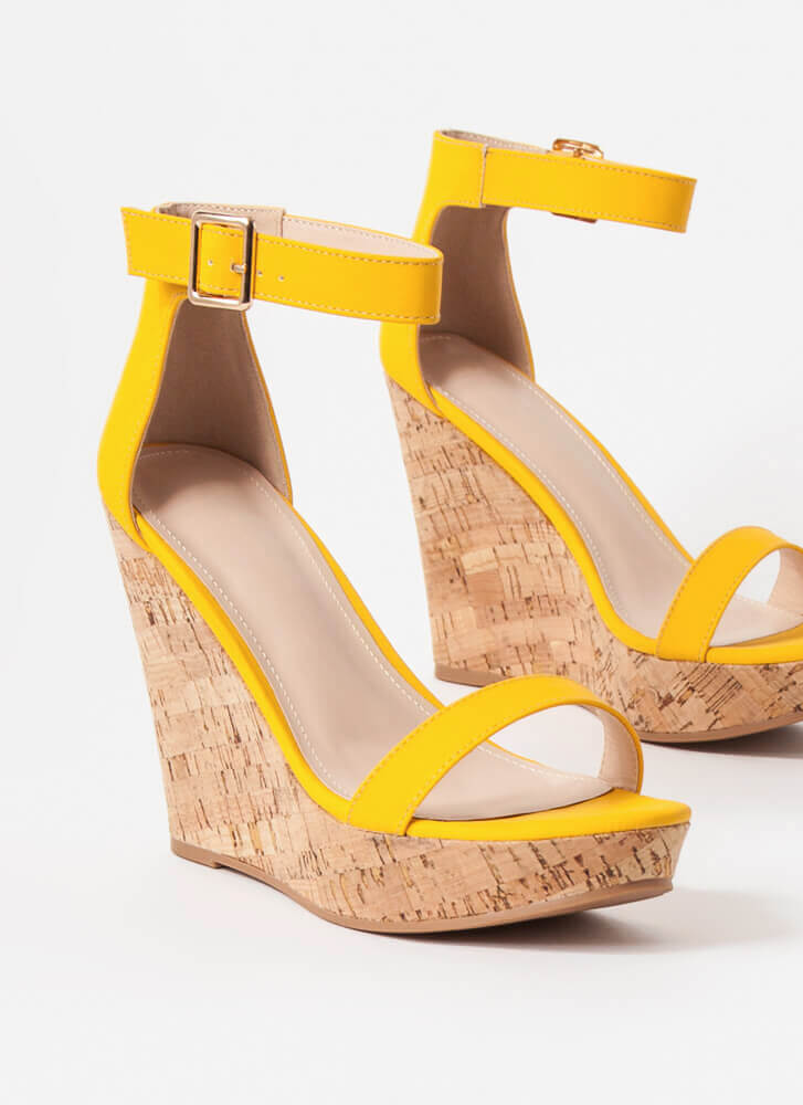 Perfect Vacation Ankle Strap Cork Wedges YELLOW
