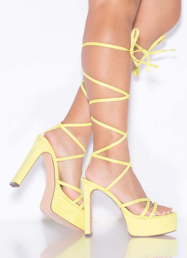 All Straps Chunky Lace-Up Platform Heels LIME