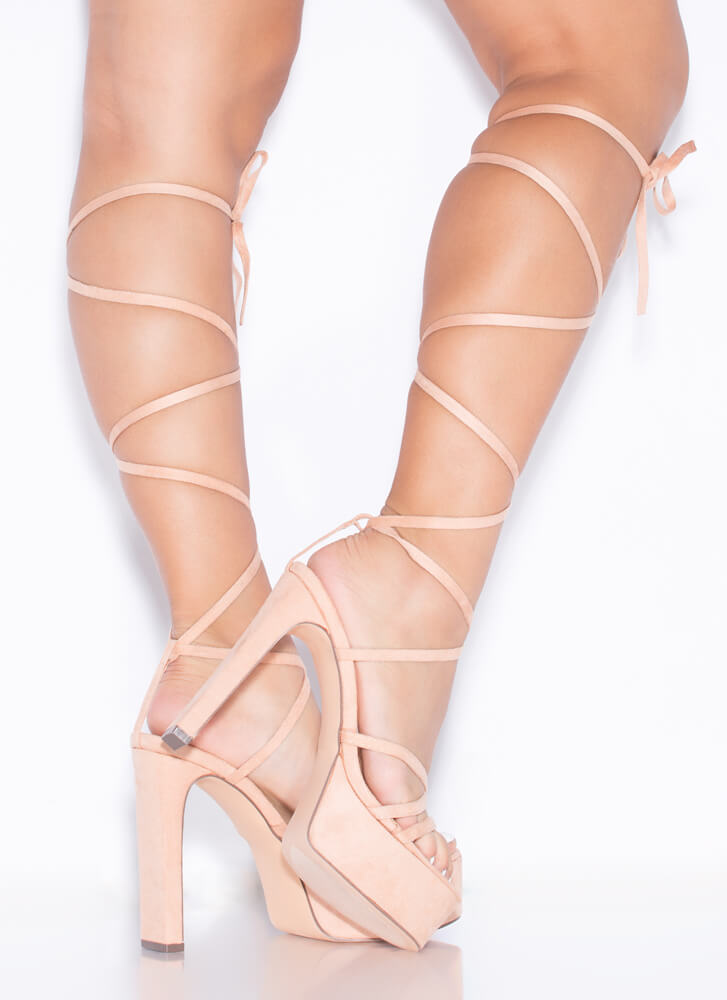 All Straps Chunky Lace-Up Platform Heels NUDE