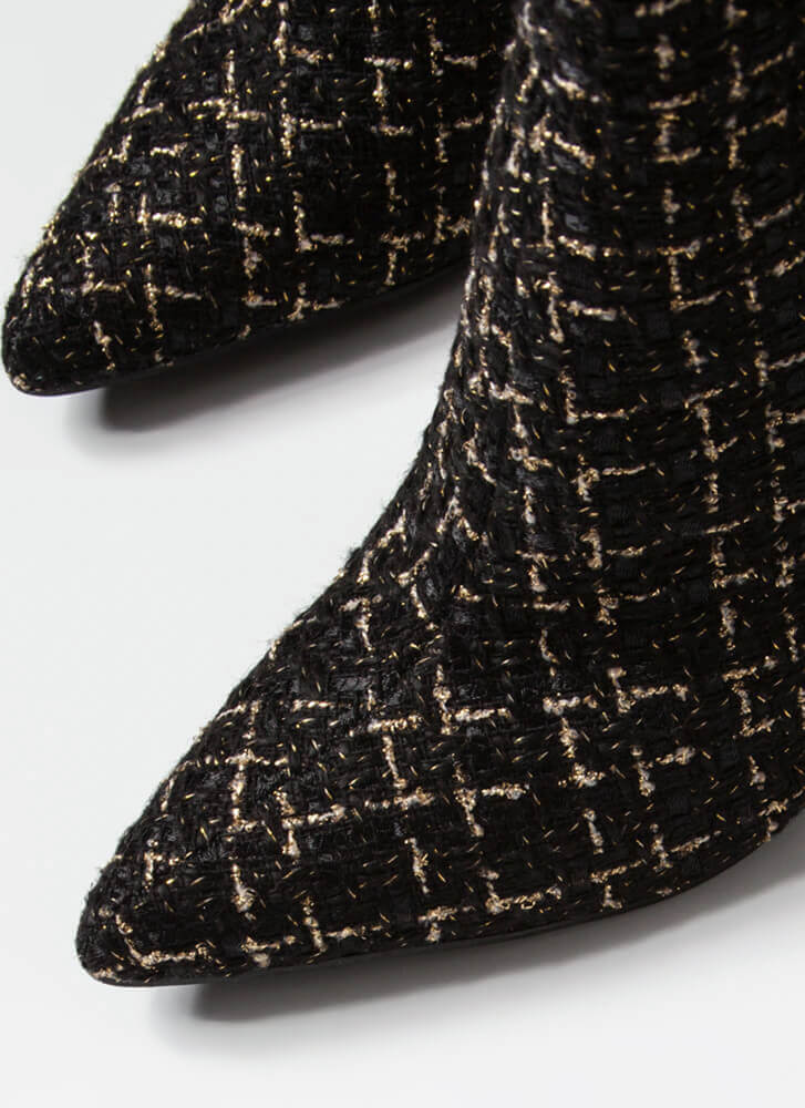 Point Person Chunky Tweed Booties BLACK