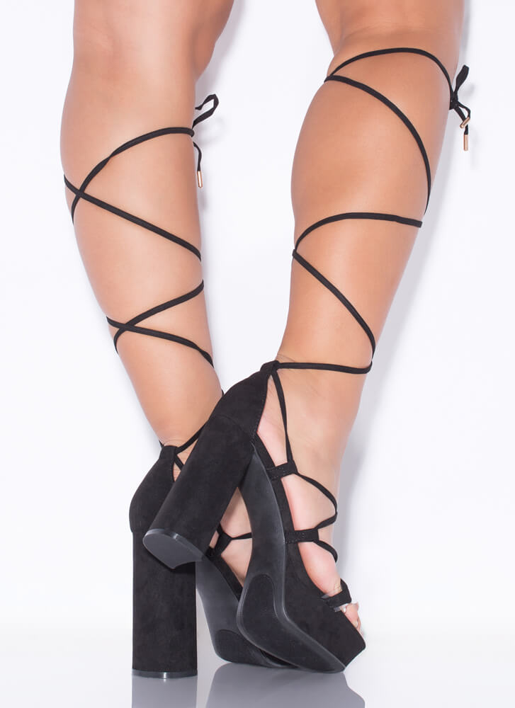 Heart Strings Chunky Lace-Up Platforms BLACK