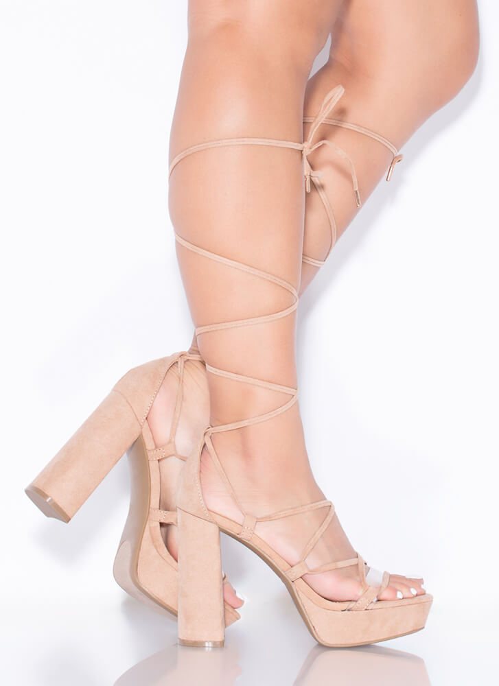 Heart Strings Chunky Lace-Up Platforms CAMEL