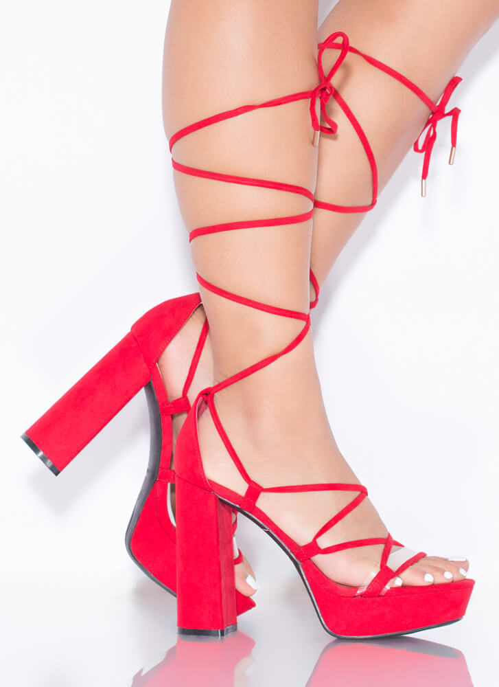 Heart Strings Chunky Lace-Up Platforms RED