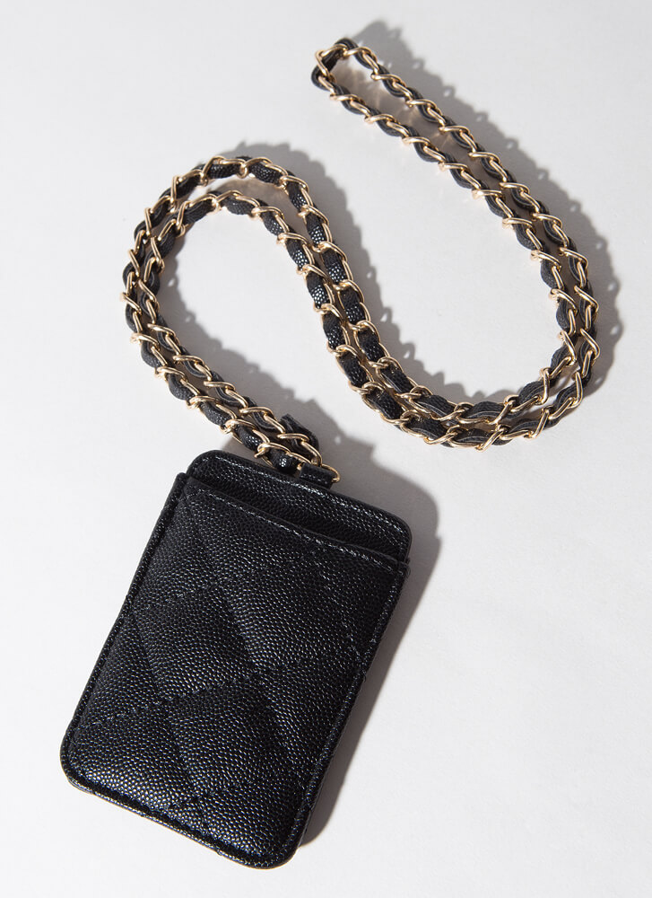 Chic Girls Quilted Chain Strap Card Case BLACK