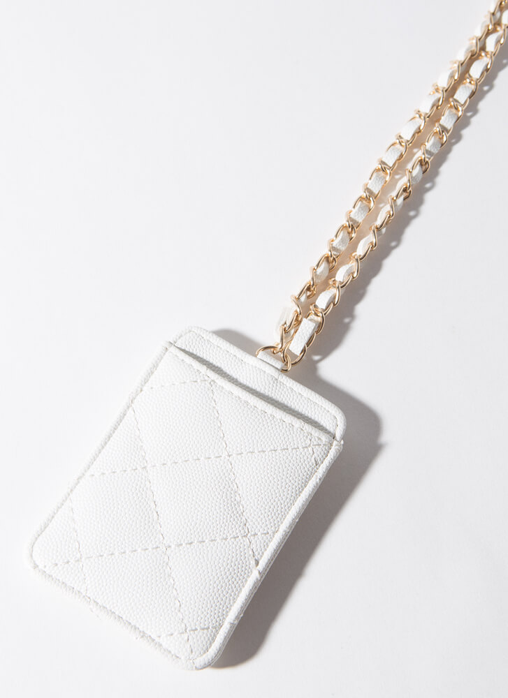 Chic Girls Quilted Chain Strap Card Case WHITE