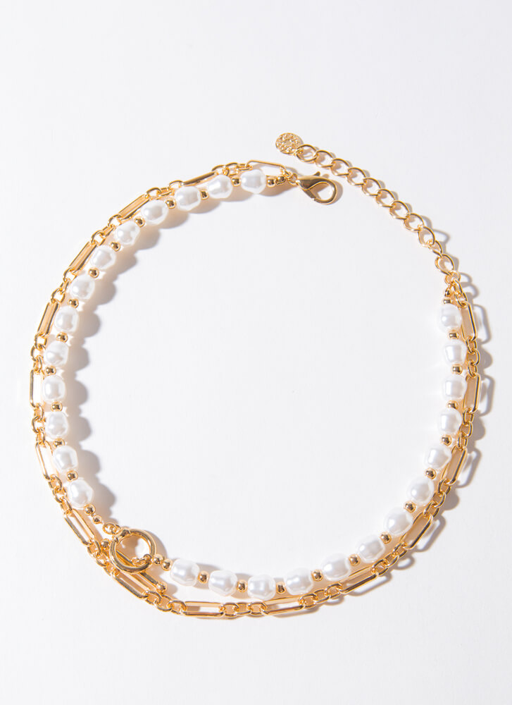 Chains Of Pearls Layered Choker Necklace GOLDCREAM