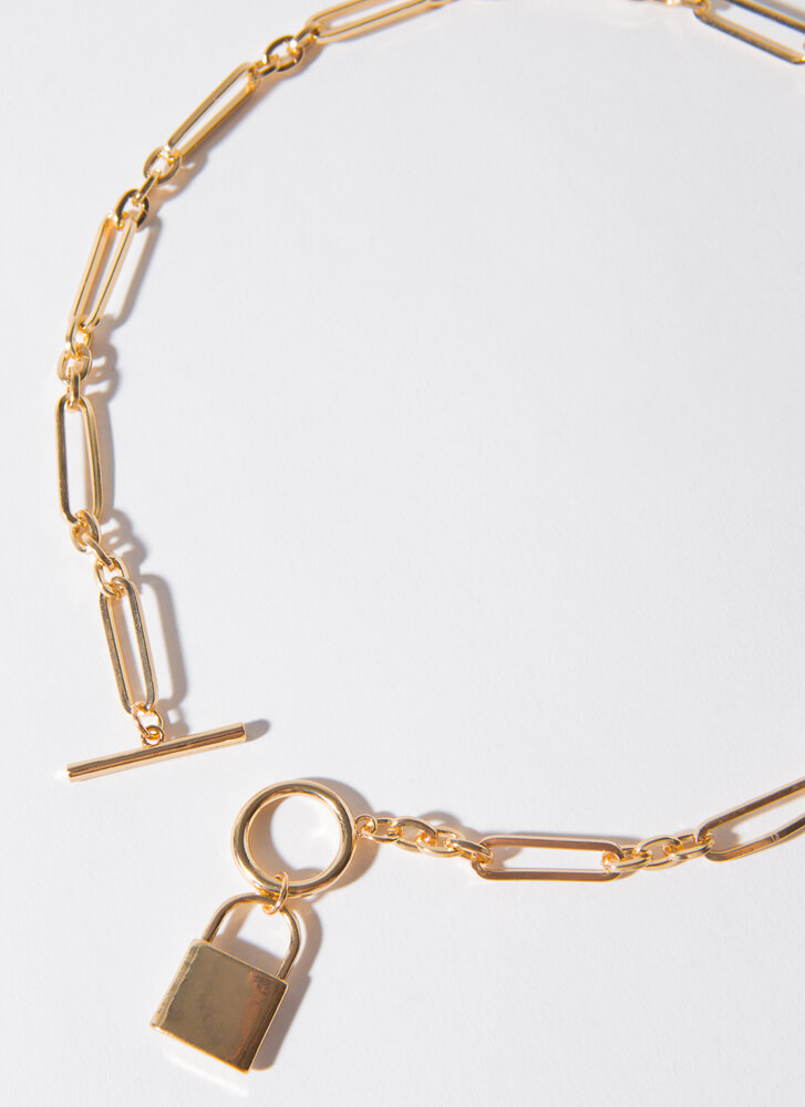 Best Of Lock Toggle Chain Necklace GOLDCLEAR