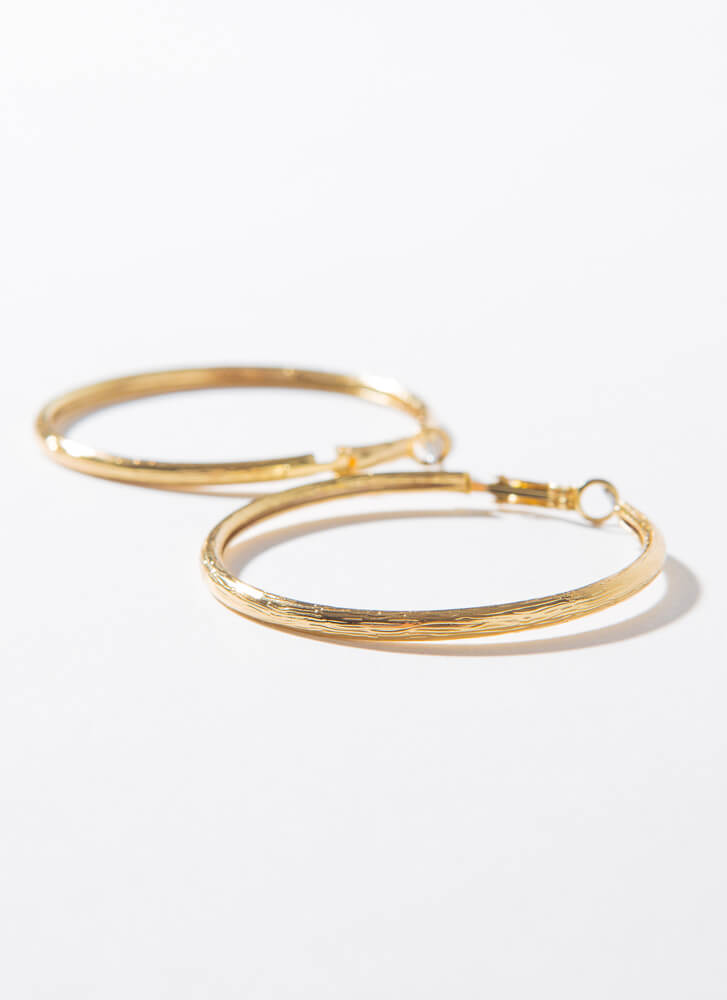 Brush With Fate Mid-Sized Hoop Earrings GOLD