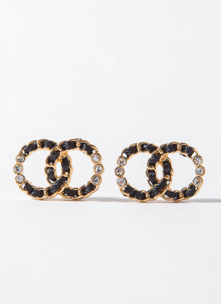 Chain Of Thought Linked Ring Earrings GOLDBLACK