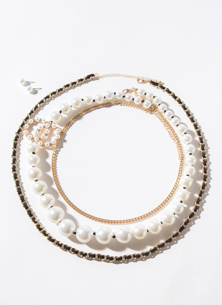Luxurious Pearl And Chain Necklace Set BLACKCREAM