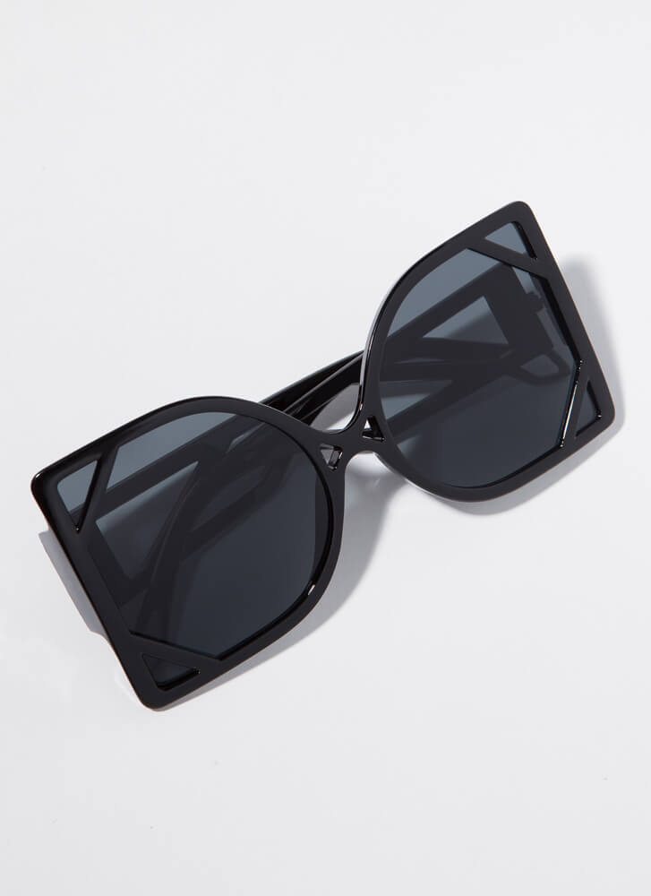 New Frames Oversized Cut-Out Sunglasses BLACK