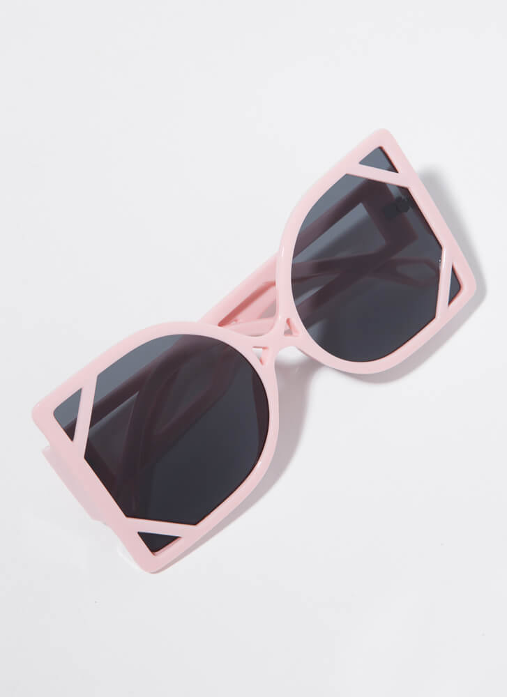 New Frames Oversized Cut-Out Sunglasses PINK
