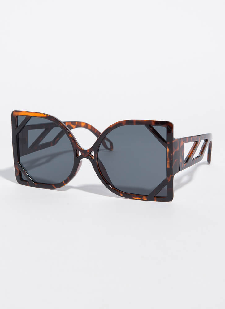 New Frames Oversized Cut-Out Sunglasses TORT