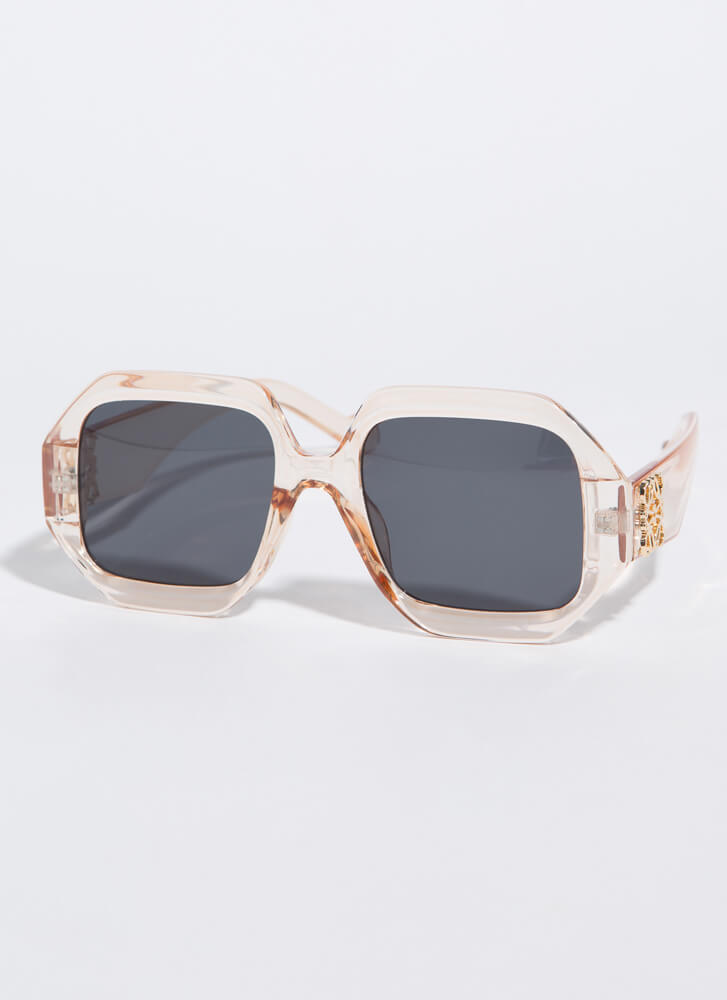 Symbol-Eyes Thick-Rimmed Sunglasses PEACH