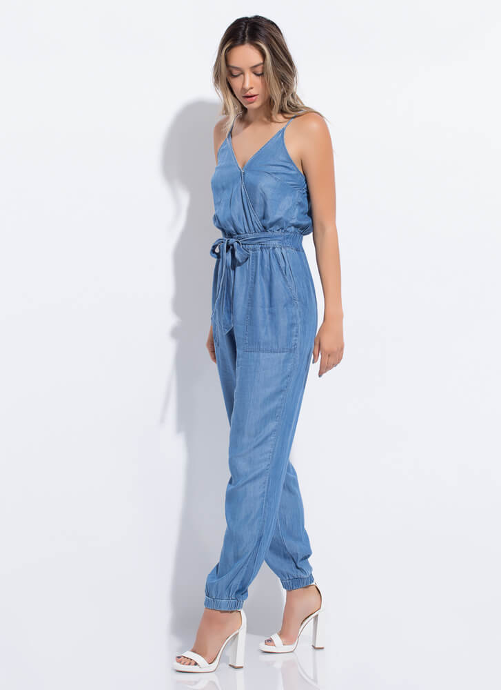 Chambray Chic Tied Jogger Jumpsuit MEDBLUE