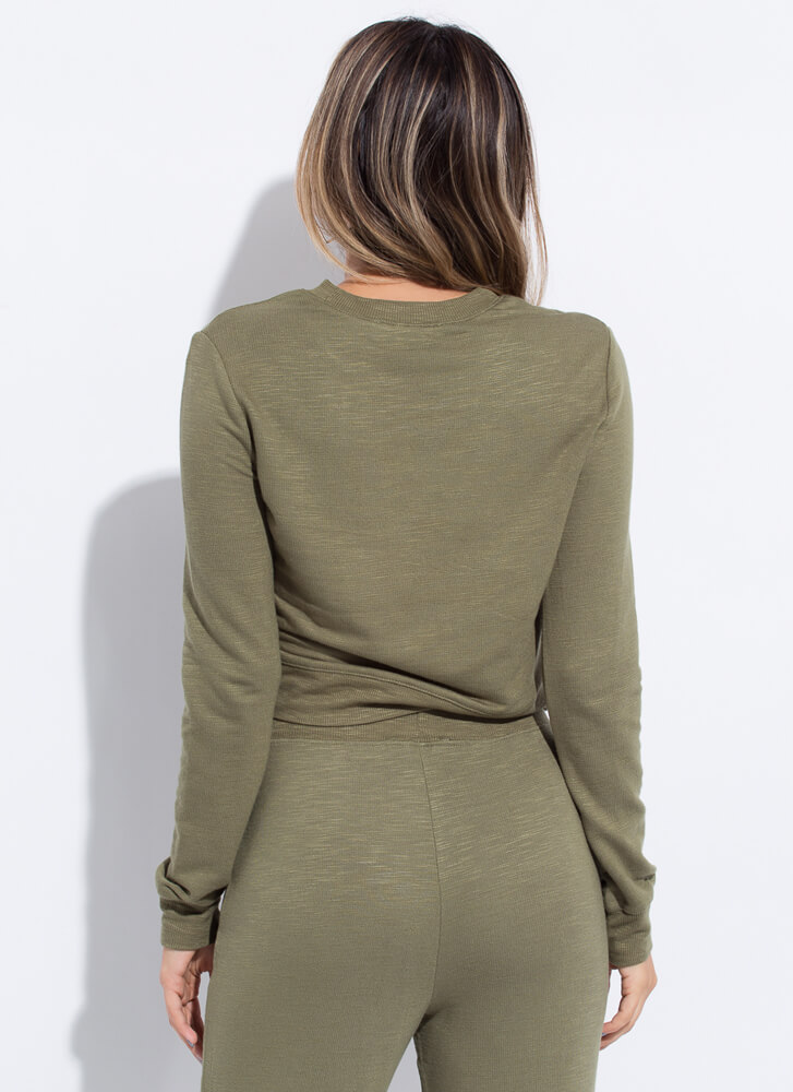 Work From Home Long-Sleeved Top OLIVE