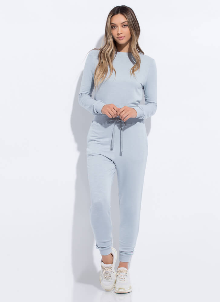 Work From Home Long-Sleeved Top SMOKEBLUE