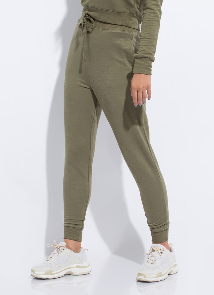 Work From Home Drawstring Joggers OLIVE