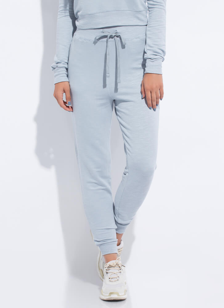 Work From Home Drawstring Joggers SMOKEBLUE