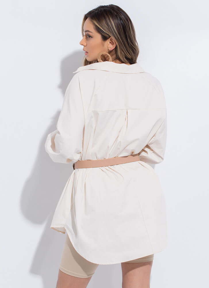 This Is Fashion Oversized Button-Up LTBEIGE