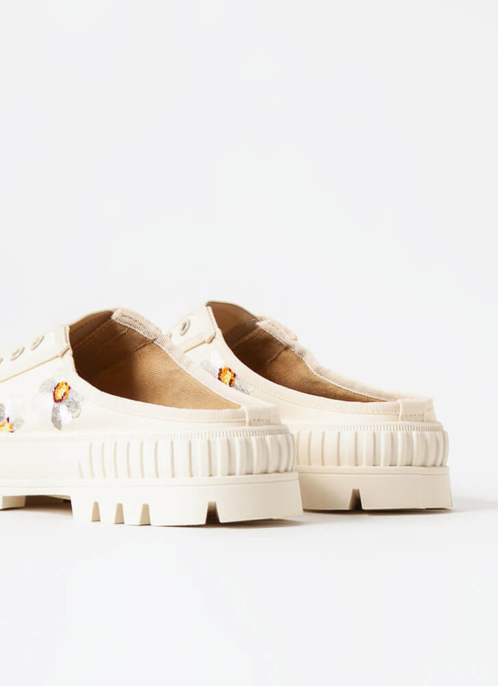 Embroidered Flowers Slip-On Sneakers BEIGE