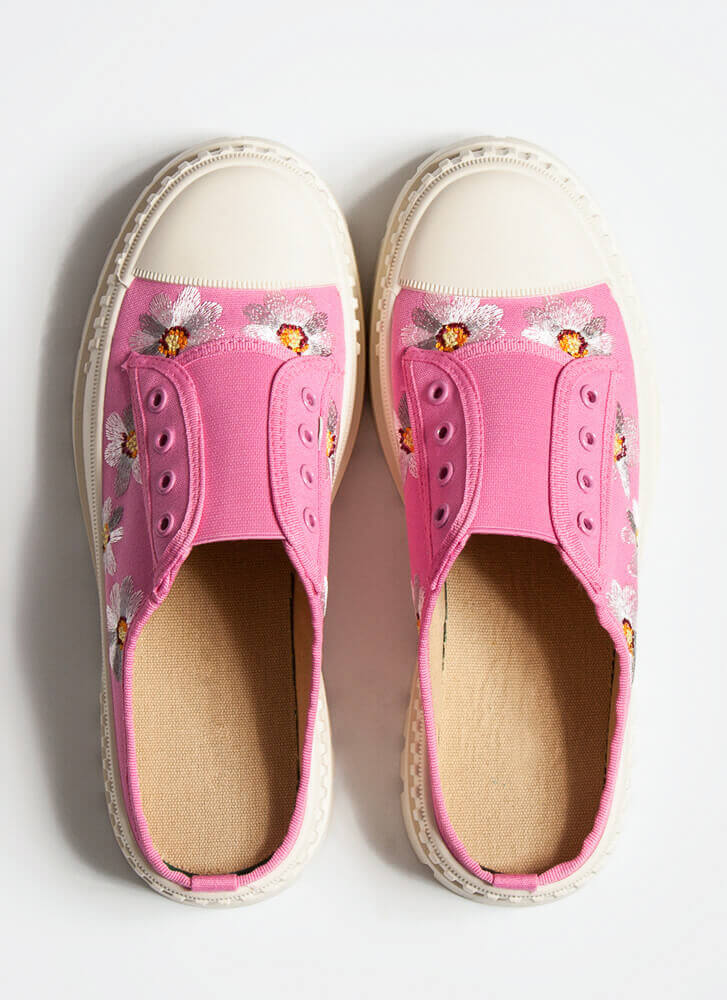 Embroidered Flowers Slip-On Sneakers FUCHSIA