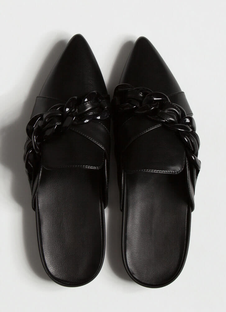 Link It Over Chain Strap Mule Flats BLACK