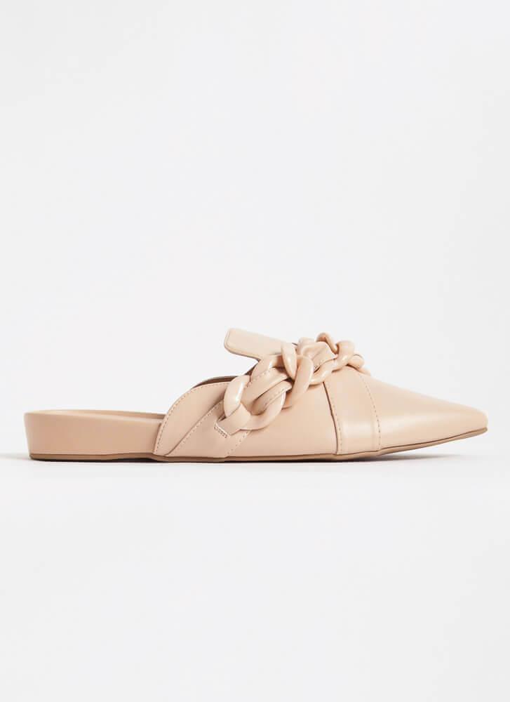 Link It Over Chain Strap Mule Flats TAUPE