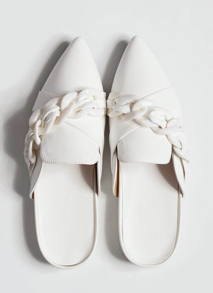 Link It Over Chain Strap Mule Flats WHITE
