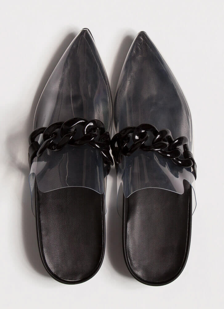 Cool Illusion Pointy Chained Mule Flats BLACK