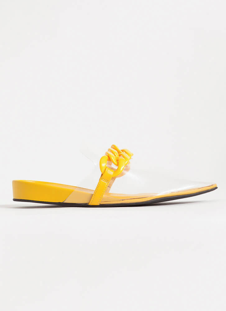 Cool Illusion Pointy Chained Mule Flats MUSTARD