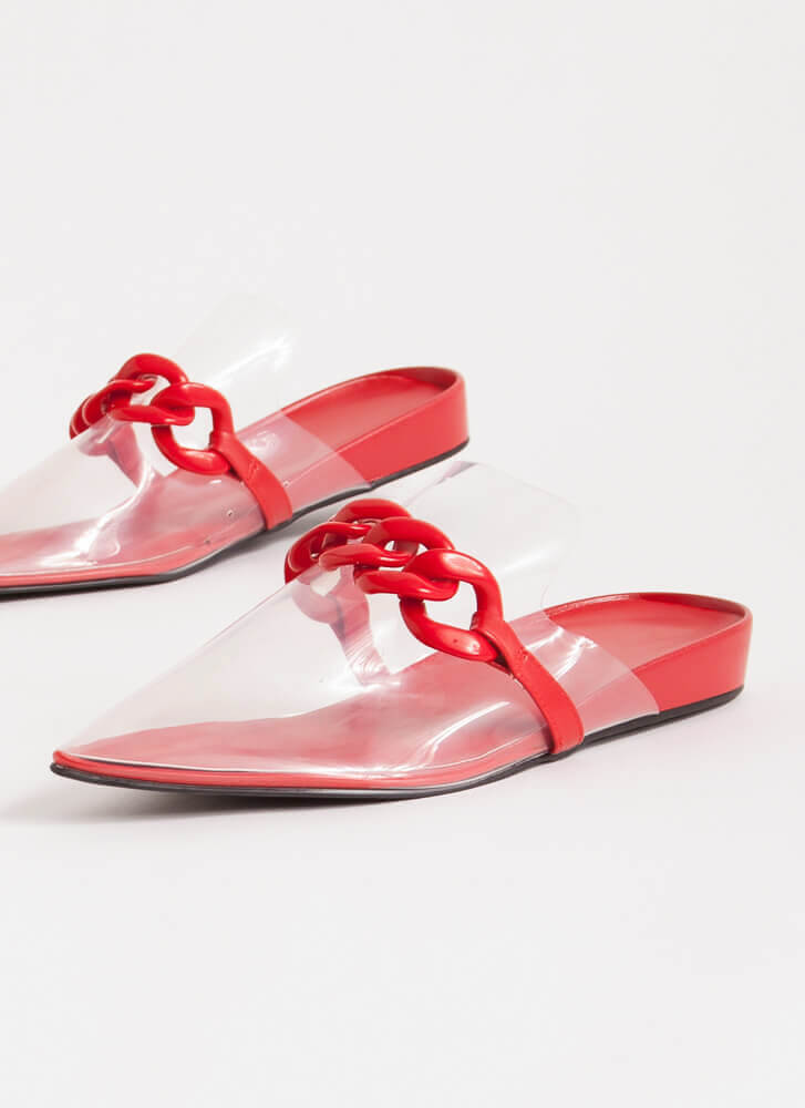 Cool Illusion Pointy Chained Mule Flats RED