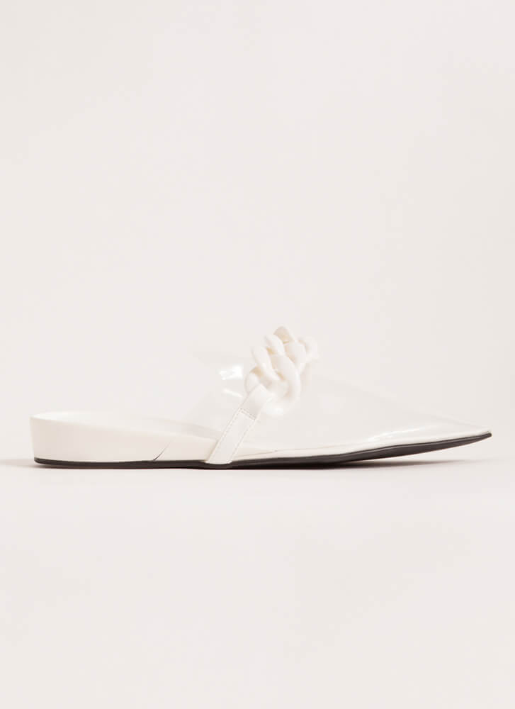 Cool Illusion Pointy Chained Mule Flats WHITE