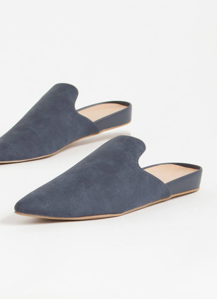 The Simple Life Pointy Mule Flats BLUE