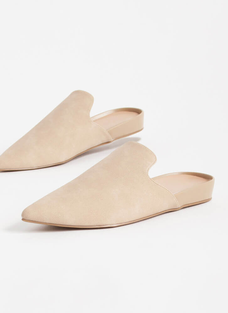 The Simple Life Pointy Mule Flats NUDE