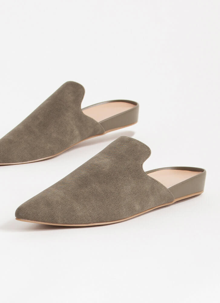 The Simple Life Pointy Mule Flats OLIVE