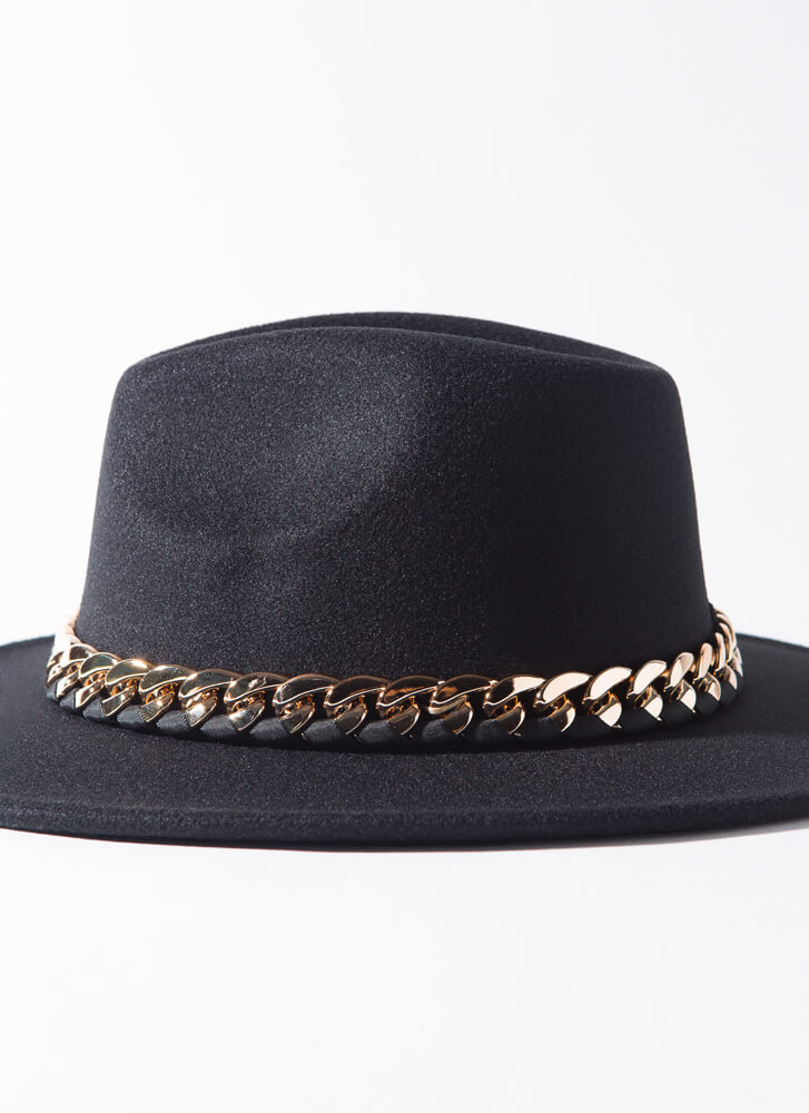 Ribbon And Chain Felted Fedora BLACK