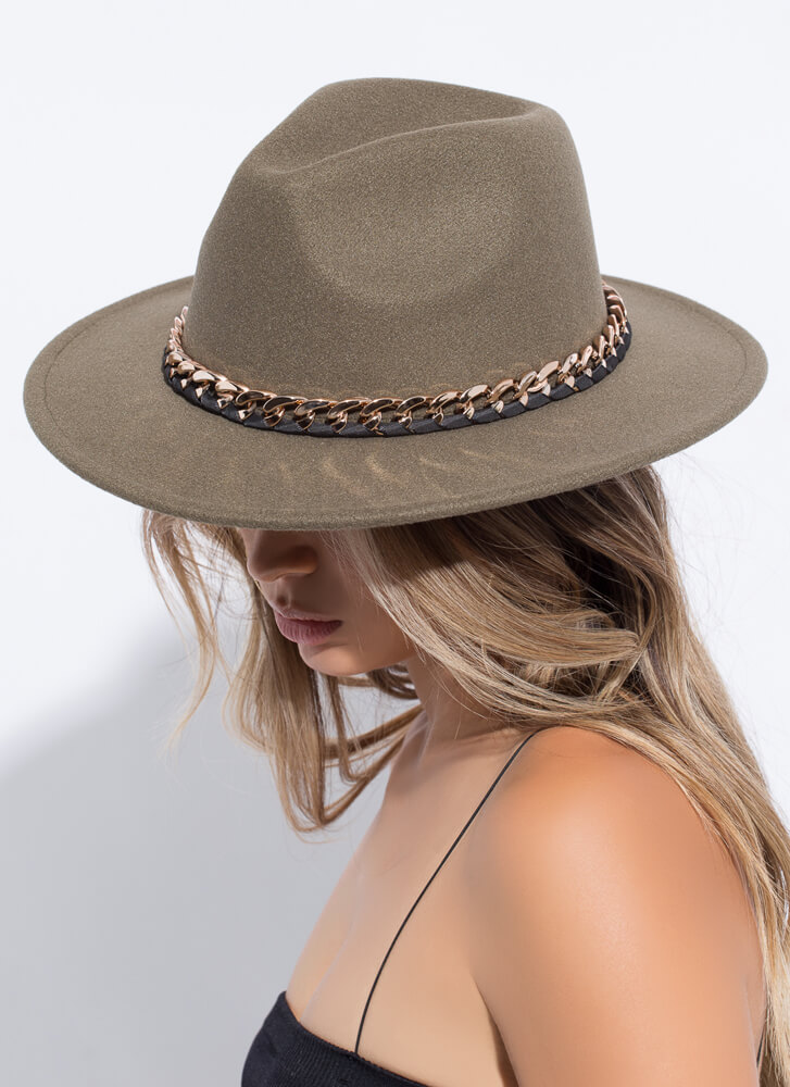 Ribbon And Chain Felted Fedora OLIVE