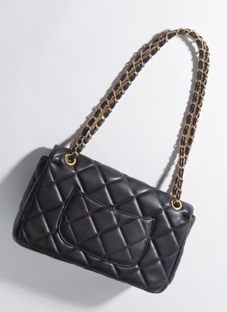 Tiles And Studs Quilted Chain-Strap Bag BLACK