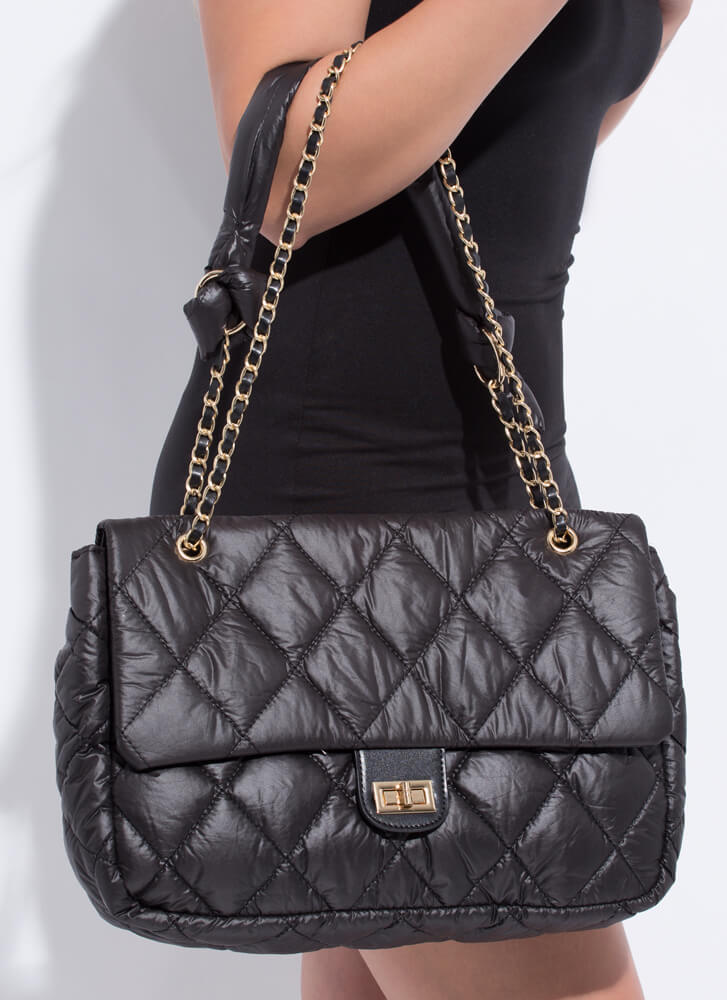 Big Beauty Puffy Quilted Oversized Bag BLACK