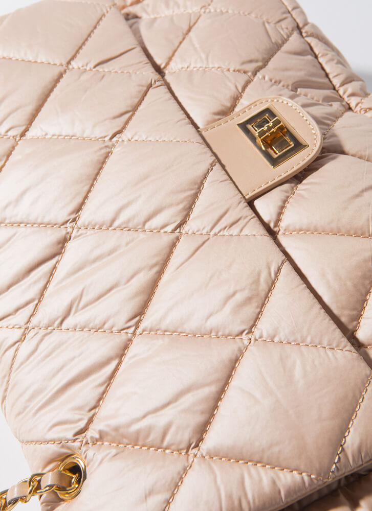 Big Beauty Puffy Quilted Oversized Bag NUDE
