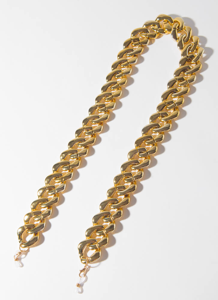 Shine Chunky Face Mask And Glasses Chain GOLD