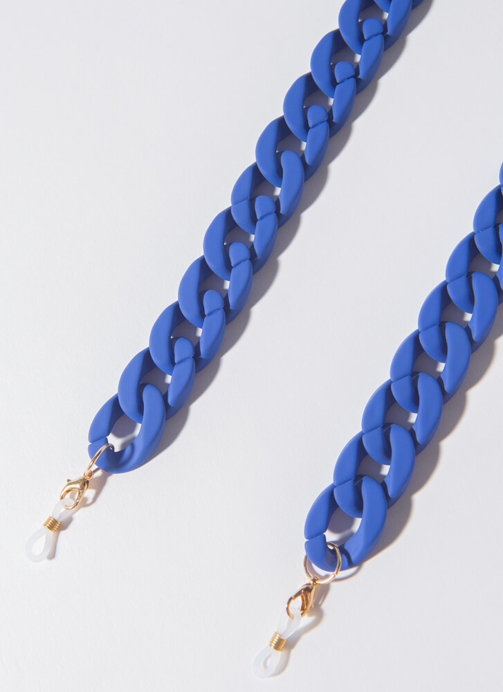 Matte Magic Face Mask And Glasses Chain COBALT